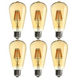 1/4/6pcs E26 Bulb LED 4W 6W 8W Dimmable Edison Retro Filamen