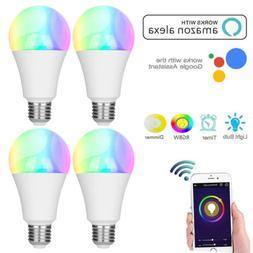 1-4PCS E27 WiFi Smart LED Light Bulb RGB+W Work With Alexa G