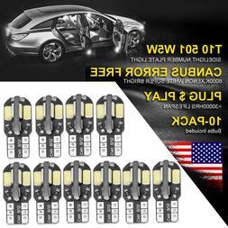 10PCS Canbus T10 194 168 W5W 5730 8 LED SMD White Car Side W