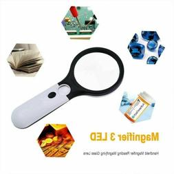 USA 45X Handheld Magnifying Glass with 3 LED Light Magnifier