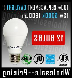 12 100W Equivalent 15W LED Light Bulb Daylight 5000K A19 E26