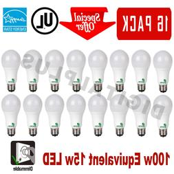 16 LED Light Bulbs 15W 100W Replacement 1600L Warm White 300