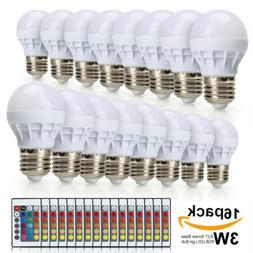 16Pcs 3W LED E27 RGB 16 Color Changing Magic Lamp Light Bulb