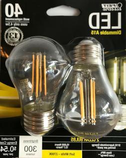 2 FEIT Electric 40-Watt Dimmable A15 LED Light Bulbs w/ Stan