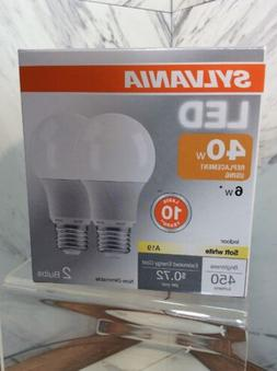 2 SYLVANIA 6-Watt / 40W Equivalent A19 Medium Base Soft Whit