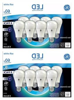 2 Boxes 16 Bulbs - GE LED Soft White Bulb A19 60W A19 8 Pack