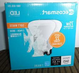2 EcoSmart LED Light Bulb Soft White 75W Equivalent 75 Watt