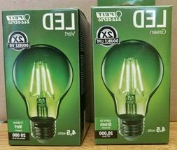 2 Pack FEIT Electric LED Green Light Bulb 4.5 Watts Dimmable