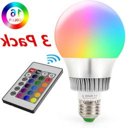 2 PCS 16 Color Changing Light Bulbs with Remote Dimmable LED
