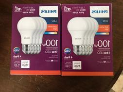 2-Phillips LED Non-Dimmable 100W Light Bulb 4 Packs
