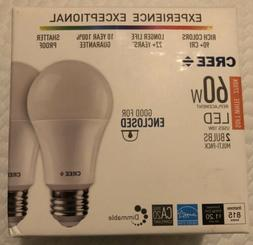 2 X 2 Pack White Cree, 60 Watt, Soft White, LED, A19 Bulb,
