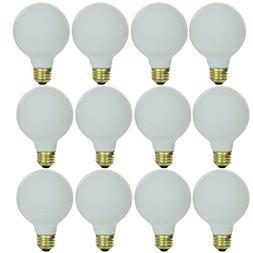 Sunlite 25G25/WH/12PK 25W Incandescent G25 White Light Bulb