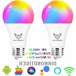 2pcs Wifi LED Smart Light Bulb 9W 900LM Multi-Color RGBCW Di