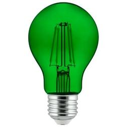 2Pk - Sunlite Green A19 LED 4.5W E26 Medium Base Filament Bu