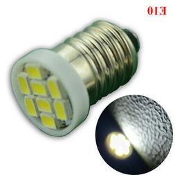 2x E10 Size 1206 8SMD LED White color 12V  DC Light bulb for