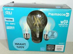 3 EcoSmart A15 E26 Filament Dimmable Glass LED Light Bulb Da