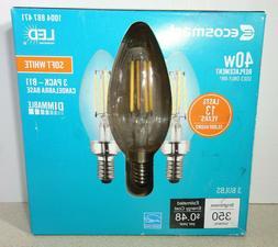 3 EcoSmart LED Light Bulb B11 Soft White Candelabra E12 Dimm