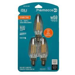 3 EcoSmart LED Bulb Soft White Candelabra B11 Dimmable Vtg E