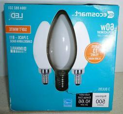 3 EcoSmart LED Light Bulb Soft White E12 Candelabra B11 Dimm