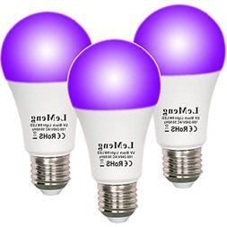 3 Pack 12W UV LED Black Light Bulbs,UVA Level 380-420nm E26