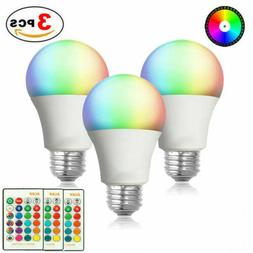 3pcs E26 RGB RGBW LED Light Bulb Multi Color Changing Magic