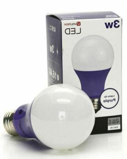 3W Utilitech Purple LED Light Bulb A19 Indoor Interior Stand