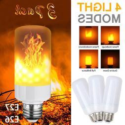 3x E27 LED Flicker Flame Light Bulb Simulated Burning Fire E