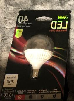 4 Bulbs Feit Electric 40w LED E12 Dimmable G 16 1/2 300 Lume