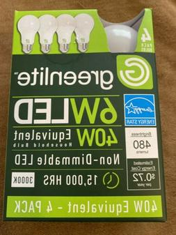 4 Pack 11W Greenlite LED 75 W Equiv DIMMABLE Light Bulbs Soft White 3000K