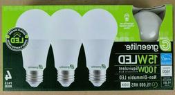 4 Pack 15W Greenlite LED 100 Watt Equivalent A Type Light Bu