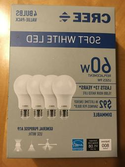 4 Pack - CREE 60 Watt Equivalent, Soft White, Dimmable, A19