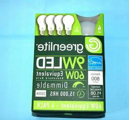 4 Pack 9w Greenlite LED 60 Watt Equivalent A type Light Bulb