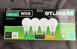 4 pack Maxlite 9w LED Bulb 60 watt Daylight  Dimmable 2700K
