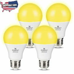 4 Pack A19 LED Bug Light Bulb Yellow Color Bulb,7 Watt  E26