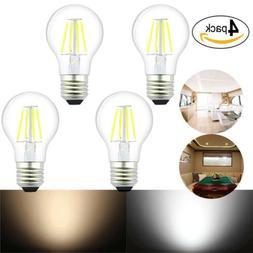 4-Pack E26 LED 4W A19/A60 Edison Filament Bulb E26 Medium Ba