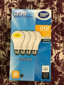 4 PACK LED 100W = 15W Daylight 100 Watt Equivalent 1650 lume