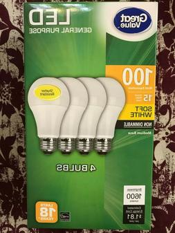 4 PACK LED 100W = 15W Soft White 100 Watt Equivalent 1600 lu