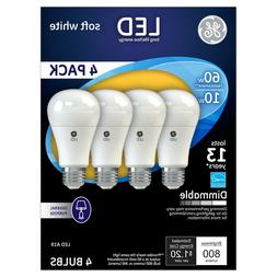 4 PACK GE LED 10W Soft White Dimmable 60 Watt Equivalent A19