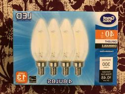 4 PACK LED 40W = 4W Candelabra Daylight Dimmable 40 Watt Equ