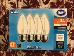 4 PACK LED 40W = 4W Daylight Dimmable 40 Watt Equivalent 500