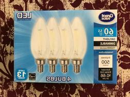 4 PACK LED 60W = 5.5W Candelabra Daylight Dimmable 60 Watt E