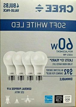 4 PACK CREE LED 60W Replacement A19 Soft White  Dimmable Lig