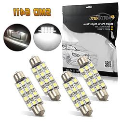 Partsam 4pcs White 41mm 42mm Festoon 12SMD LED Light Interio
