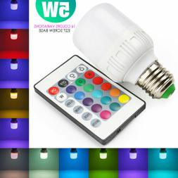 E27 LED Light Bulb Lamp 5W RGB Magic 16 Multi Color With IR