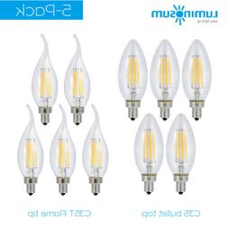 LUMINOSUM 5-Pack Dimmable LED Candelabra Bulb Vintage Filame