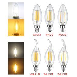 5X 2/4/6W E12 LED Chandelier Light Bulb Filament Candelabra