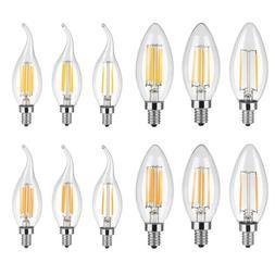 5X 2W 4W 6W LED COB Filament Edision Candelabra Light Bulb F