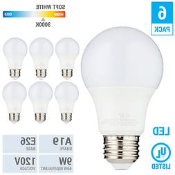 6 Pack LED A19 Bulb 9W 60W Equivalent Non Dimmable 3000K Sof