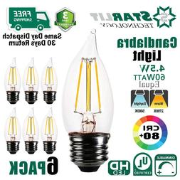 6 PACK LED Chandelier Bulb 4.5W 60W Equivalent 2700K 5000K E