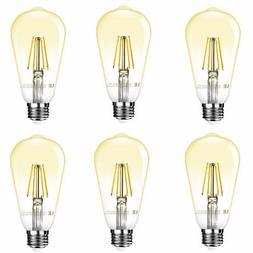 6 Pack Vintage Retro Edison E26 Screw LED Filament Light Bul